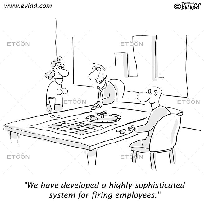 Men and a woman talking around a table...: eToon cartoon for newsletters, presentations, websites, books and more