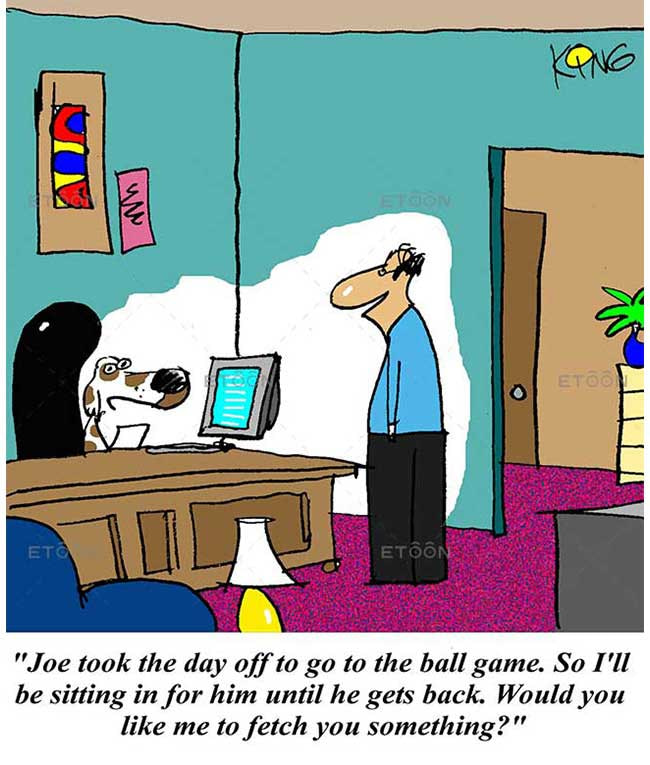 Joe took the day off to go to the ball game: eToon cartoon for newsletters, presentations, websites, books and more
