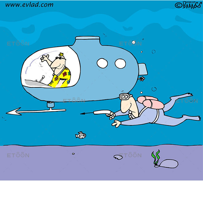 Man with a harpoon and a submarine...: eToon cartoon for newsletters, presentations, websites, books and more