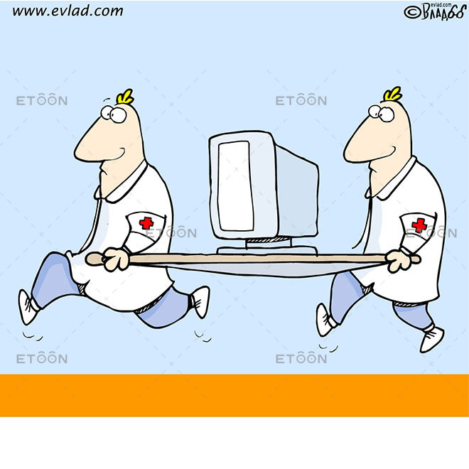 Paramedics with a computer: eToon cartoon for newsletters, presentations, websites, books and more