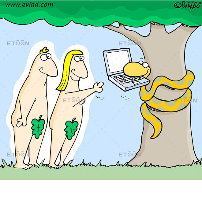 Adam, Eve and a snake with a computer in its mouth: eToon cartoon for newsletters, presentations, websites, books and more