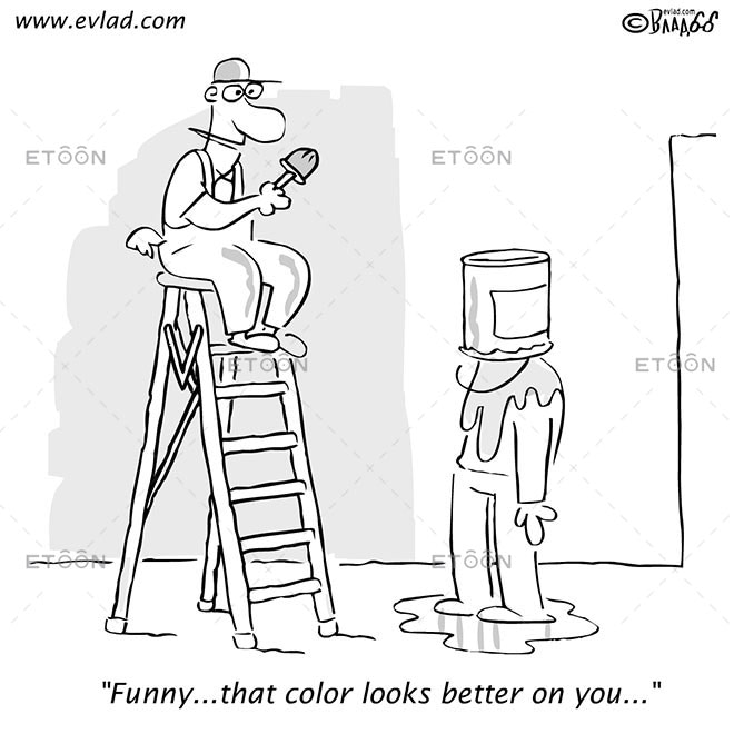 Two men in the middle of a painting job...: eToon cartoon for newsletters, presentations, websites, books and more