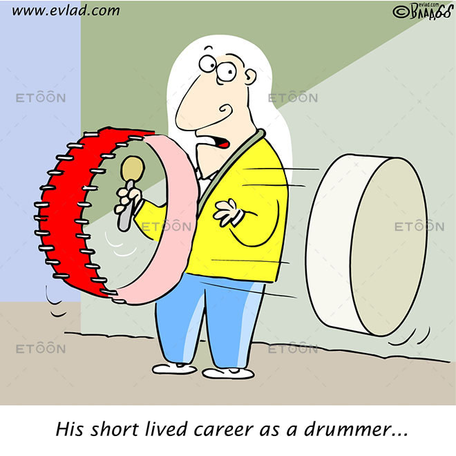 A drummer: His short lived career as a drummer...: eToon cartoon for newsletters, presentations, websites, books and more