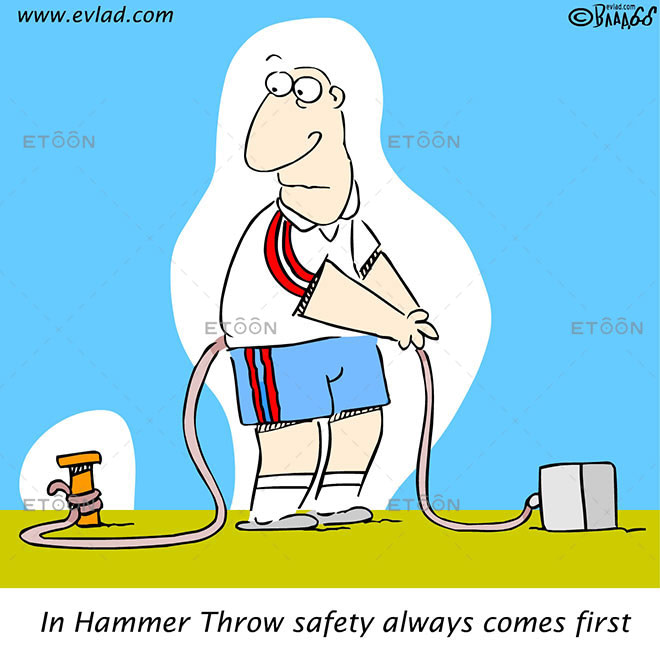In Hammer Throw safety always comes first: eToon cartoon for newsletters, presentations, websites, books and more