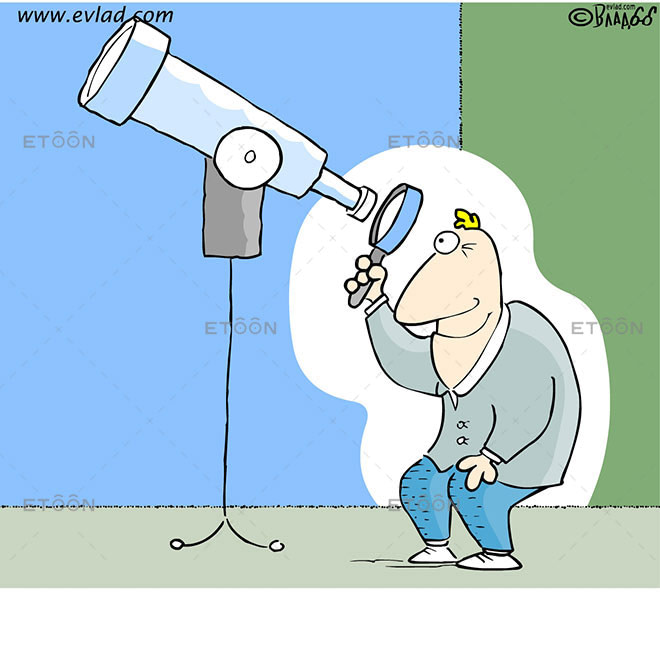 Men looking with a magnifying glass through a telescope: eToon cartoon for newsletters, presentations, websites, books and more