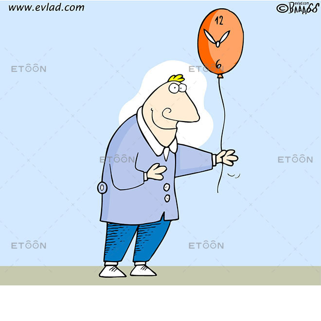 Man holding a balloon watch: eToon cartoon for newsletters, presentations, websites, books and more