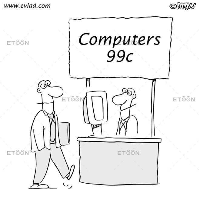 Sale at a computer store: Computers99c: eToon cartoon for newsletters, presentations, websites, books and more