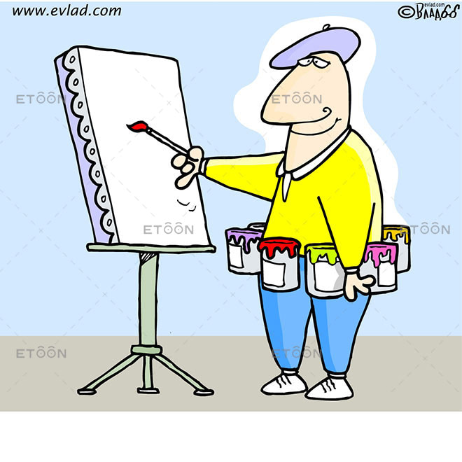 Artist with paint cans around his waist: eToon cartoon for newsletters, presentations, websites, books and more