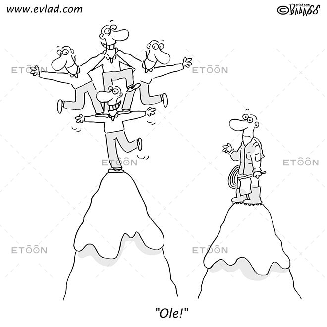 Men on mountain top: Ole!: eToon cartoon for newsletters, presentations, websites, books and more