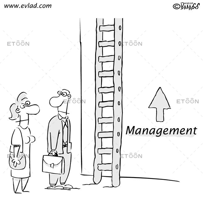 Man and woman in front of a ladder: Management: eToon cartoon for newsletters, presentations, websites, books and more