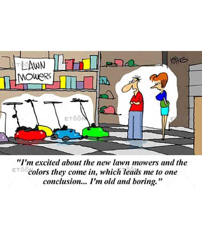 Im exited about the new lawn mowers...: eToon cartoon for newsletters, presentations, websites, books and more