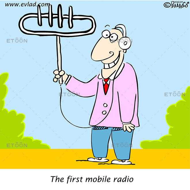 Man listening to radio holding a huge antenna...: eToon cartoon for newsletters, presentations, websites, books and more