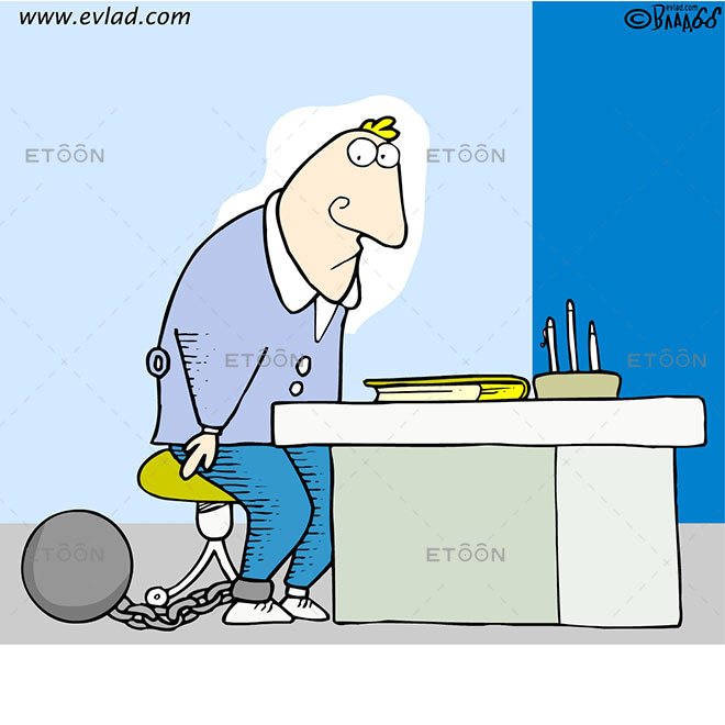 Man chained to his desk: eToon cartoon for newsletters, presentations, websites, books and more