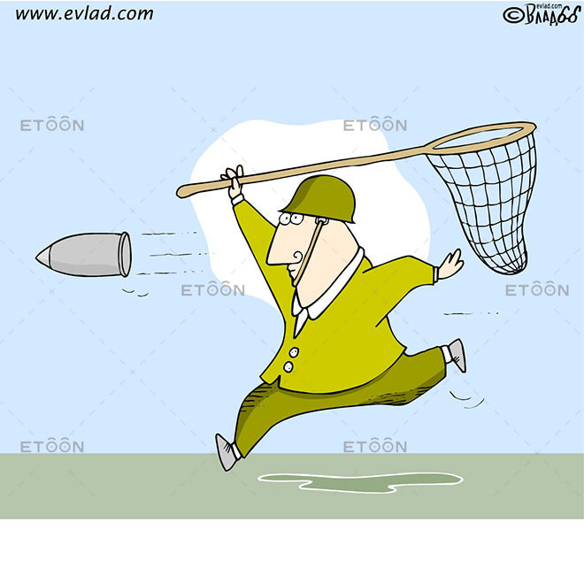 Man trying to catch a rocket grenade...: eToon cartoon for newsletters, presentations, websites, books and more