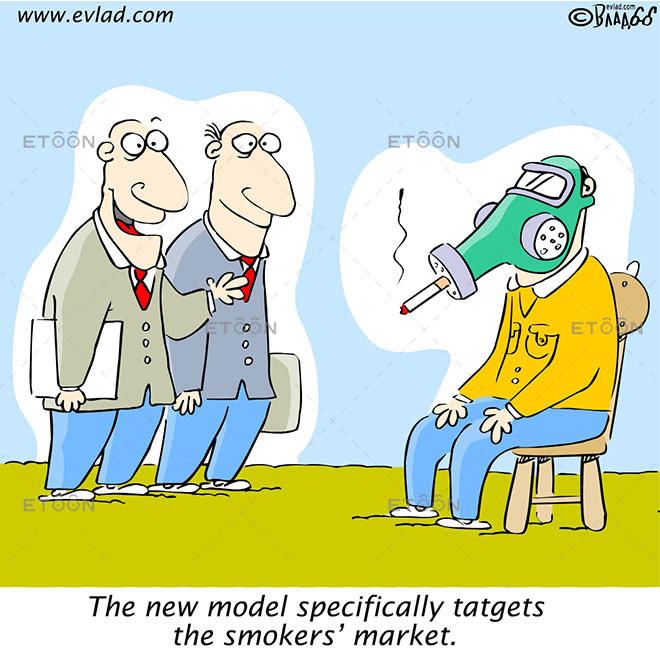 The new model specifically tatgets the smokers market.: eToon cartoon for newsletters, presentations, websites, books and more