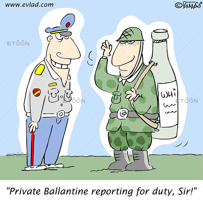 Soldier with a whisky bottle instead...: eToon cartoon for newsletters, presentations, websites, books and more
