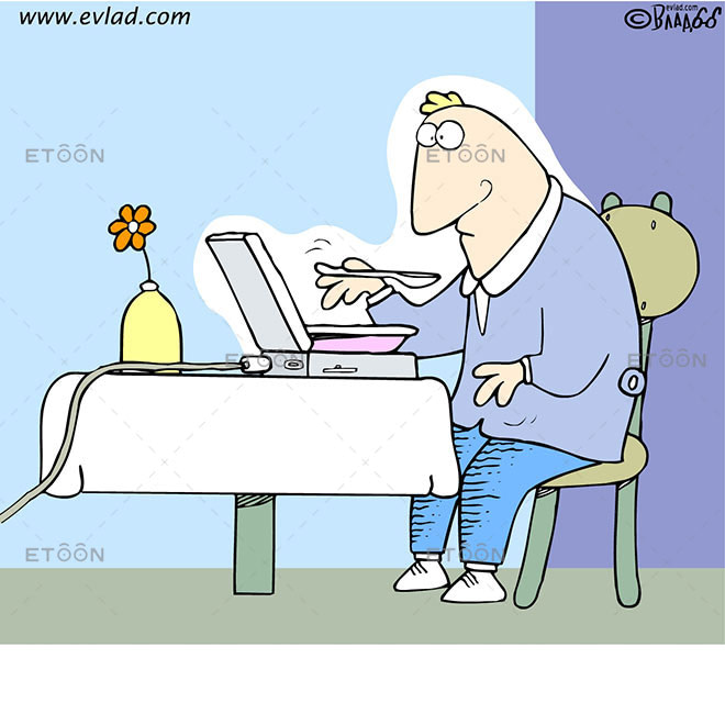 Man eating soup from his laptop: eToon cartoon for newsletters, presentations, websites, books and more
