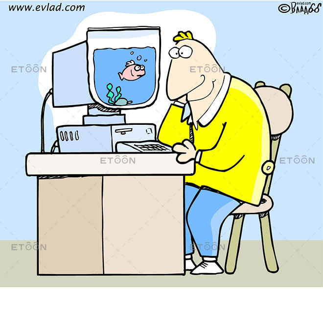 Computer with a fish bowl as a monitor: eToon cartoon for newsletters, presentations, websites, books and more