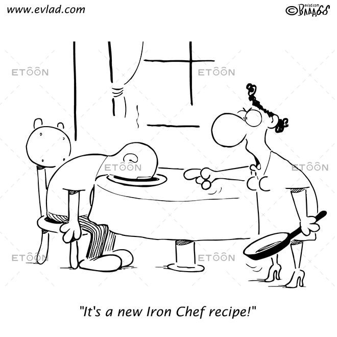 Its a new Iron Chef recipe!: eToon cartoon for newsletters, presentations, websites, books and more