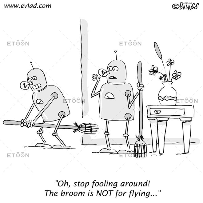 Two robots cleaning a house and fooling around...: eToon cartoon for newsletters, presentations, websites, books and more