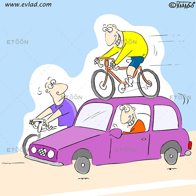 Bicycle Racer on the hood of a car: eToon cartoon for newsletters, presentations, websites, books and more