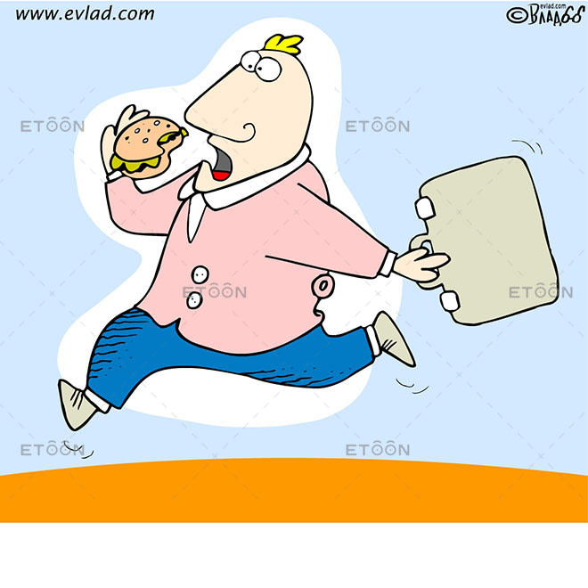 Man running and eating a burger: eToon cartoon for newsletters, presentations, websites, books and more
