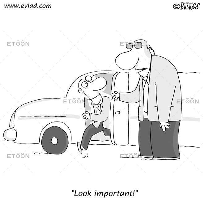 Man getting out of a limo...: eToon cartoon for newsletters, presentations, websites, books and more