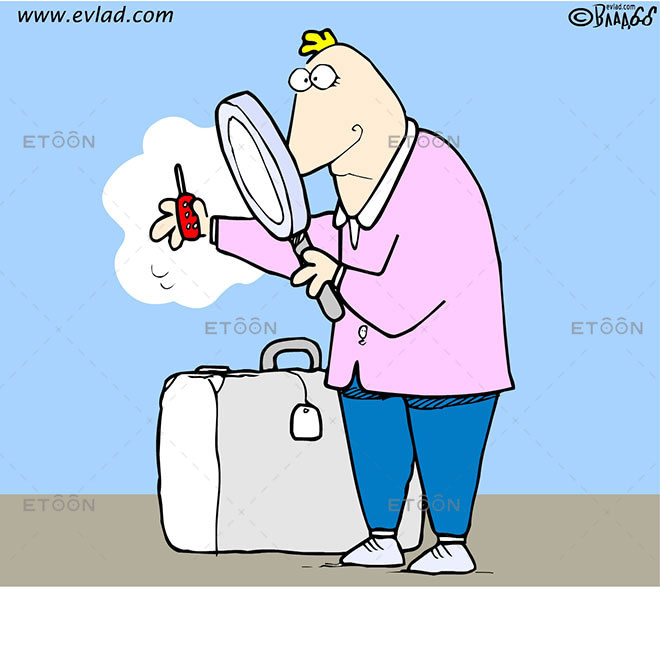 Man looking at a small cell phone...: eToon cartoon for newsletters, presentations, websites, books and more