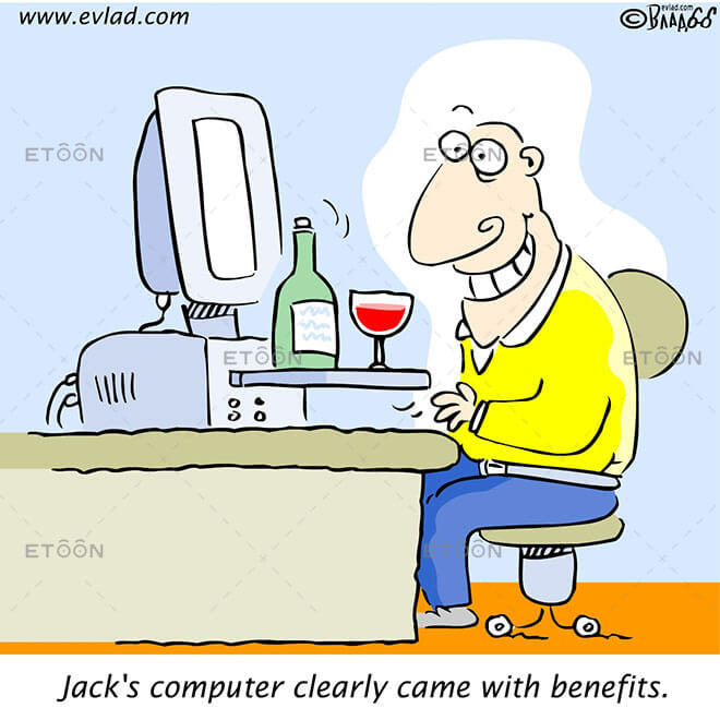 Jacks computer clearly came with benefits.: eToon cartoon for newsletters, presentations, websites, books and more