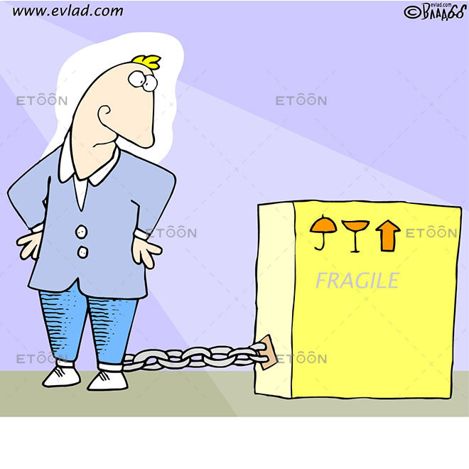 Man chained to a box with a FRAGILE label: eToon cartoon for newsletters, presentations, websites, books and more