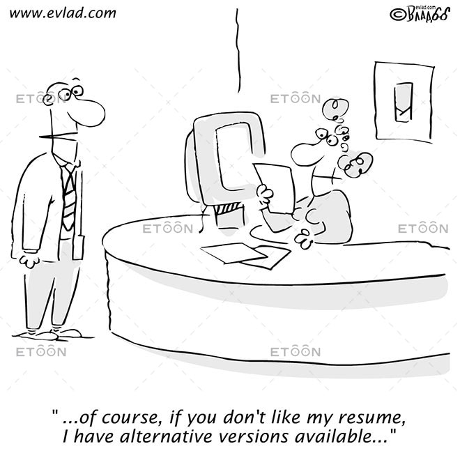 Man talking to a woman behind a desk...: eToon cartoon for newsletters, presentations, websites, books and more