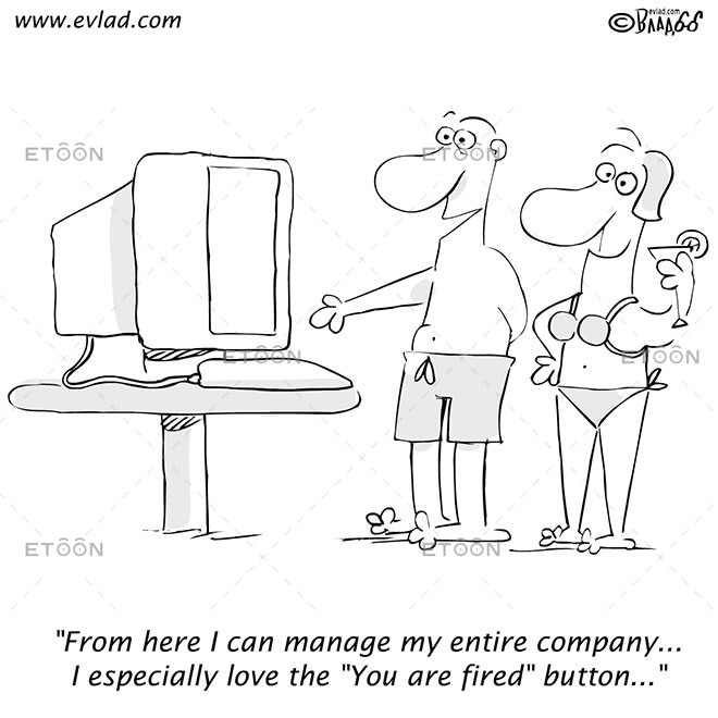 Man and woman talking in front of a computer...: eToon cartoon for newsletters, presentations, websites, books and more