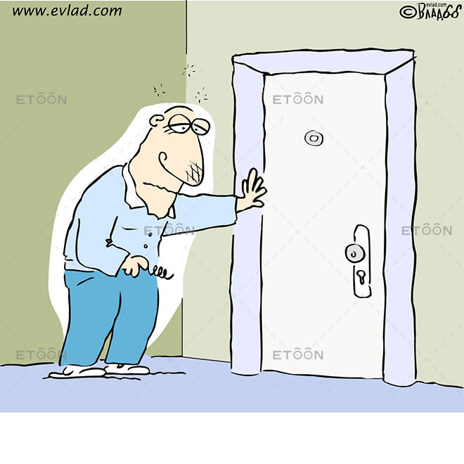 A drunk trying to unlock a door: eToon cartoon for newsletters, presentations, websites, books and more