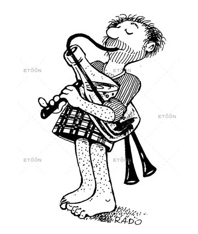 Scotish pipe player: eToon cartoon for newsletters, presentations, websites, books and more