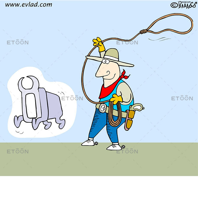 A cowboy with a lasso and a computer in the shape of a bull: eToon cartoon for newsletters, presentations, websites, books and more