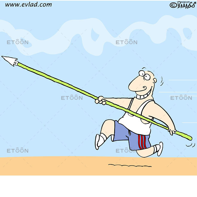 Athlete making high jump: eToon cartoon for newsletters, presentations, websites, books and more