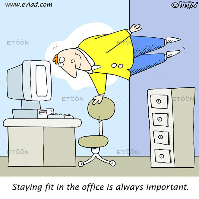 Staying fit in the office is always important.: eToon cartoon for newsletters, presentations, websites, books and more