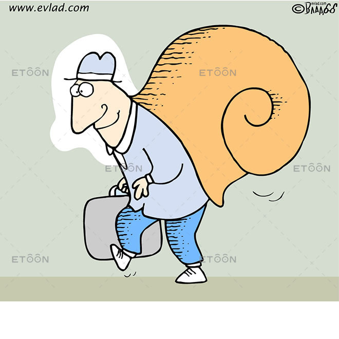 Man with a snail shell on his back: eToon cartoon for newsletters, presentations, websites, books and more