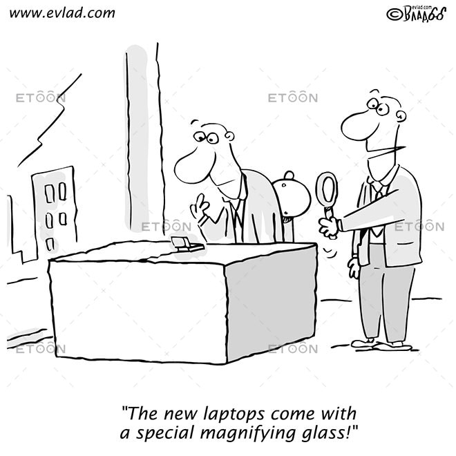 Men discussing a tiny lap top...: eToon cartoon for newsletters, presentations, websites, books and more