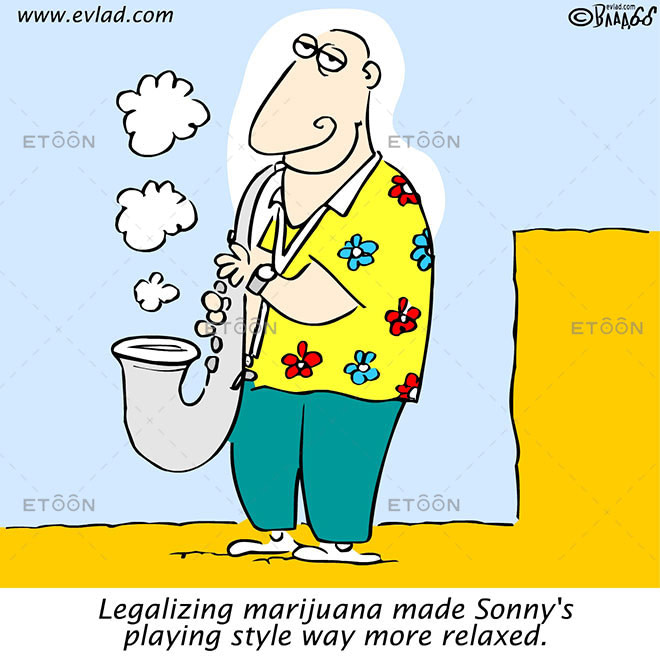 Saxophone player smoking pot...: eToon cartoon for newsletters, presentations, websites, books and more