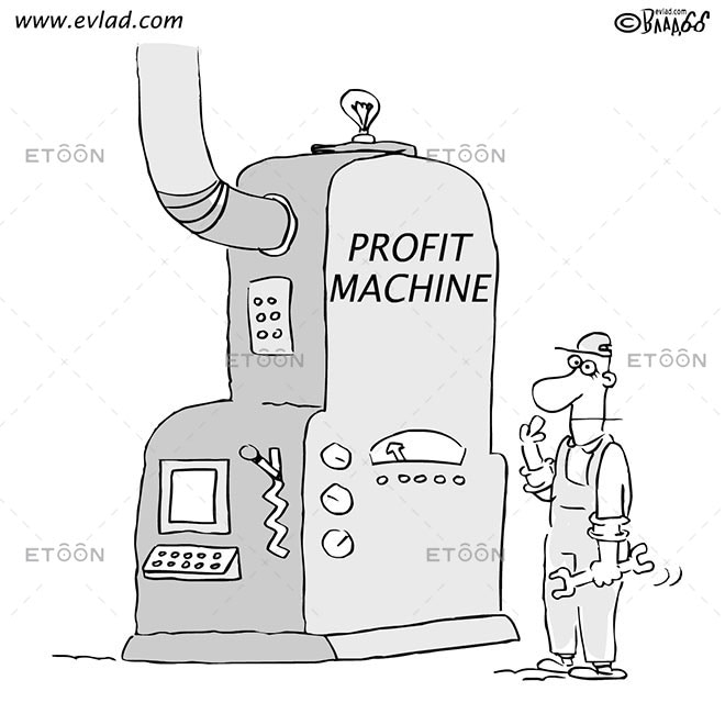 man with a monkey wrench and huge machine...: eToon cartoon for newsletters, presentations, websites, books and more