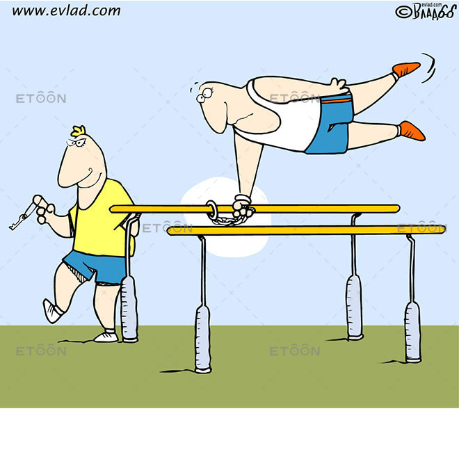 Athlete locked: eToon cartoon for newsletters, presentations, websites, books and more