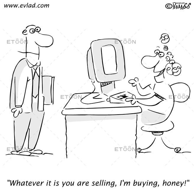 A man and woman discussing a sale...: eToon cartoon for newsletters, presentations, websites, books and more