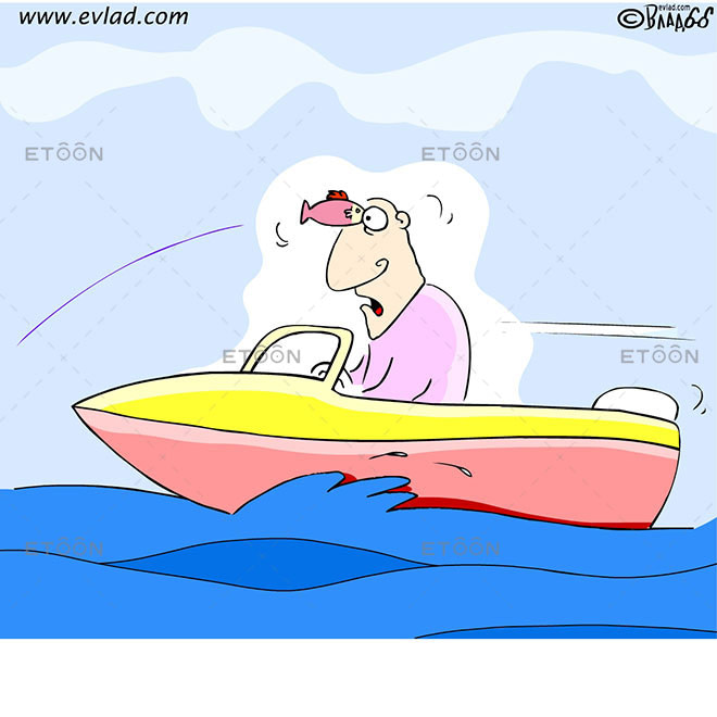 A fish striking a man on a speed boat: eToon cartoon for newsletters, presentations, websites, books and more