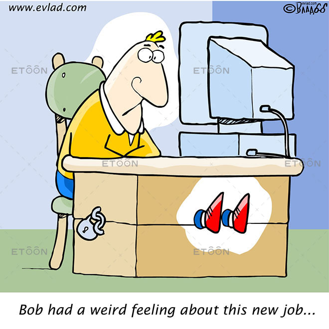 Man in an office with his legs locked...: eToon cartoon for newsletters, presentations, websites, books and more