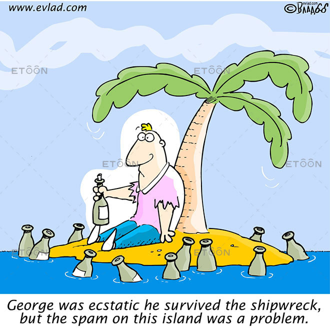 George was ecstatic he survived the shipwreck...: eToon cartoon for newsletters, presentations, websites, books and more