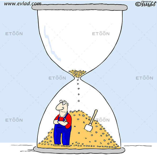 Man inside a sand clock: eToon cartoon for newsletters, presentations, websites, books and more