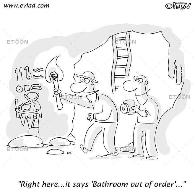 Archaeologist and journalist reading...: eToon cartoon for newsletters, presentations, websites, books and more