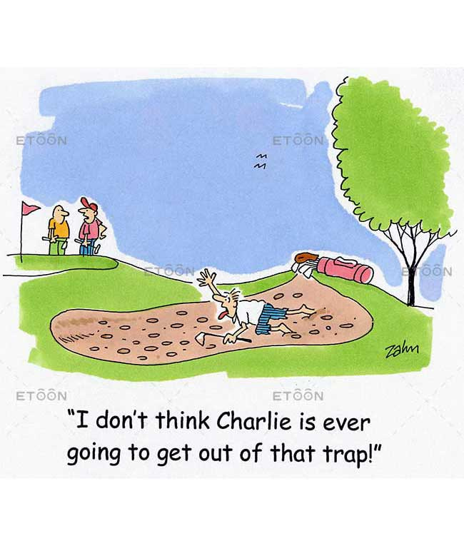 I dont think Charlie is ever going to get out of that trap!: eToon cartoon for newsletters, presentations, websites, books and more
