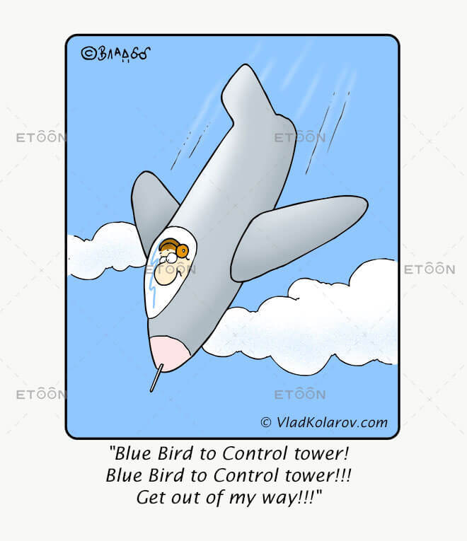Blue Bird to Control tower! Get out of my way!!!: eToon cartoon for newsletters, presentations, websites, books and more